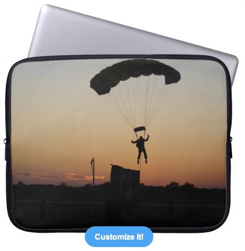 Skydiver parachute at sunset laptop sleeve.